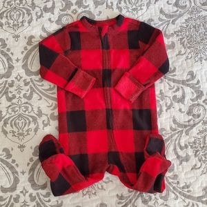 Old Navy Red Plaid Fleece Zippered & Footed Pajama